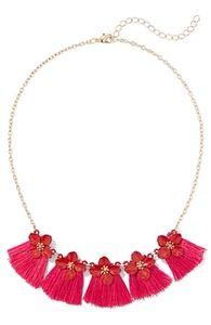 NY&C Flower Tassle Necklace